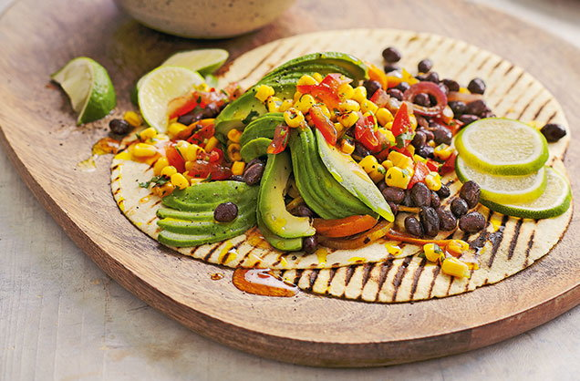 Vegan fajitas with charred corn salsa