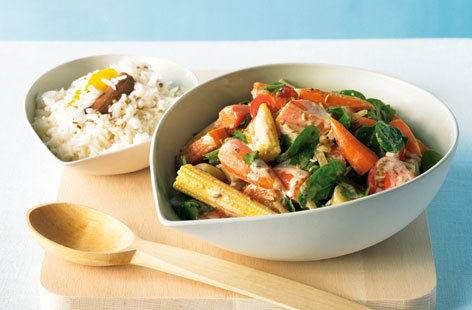 Vegetable curry and aromatic rice