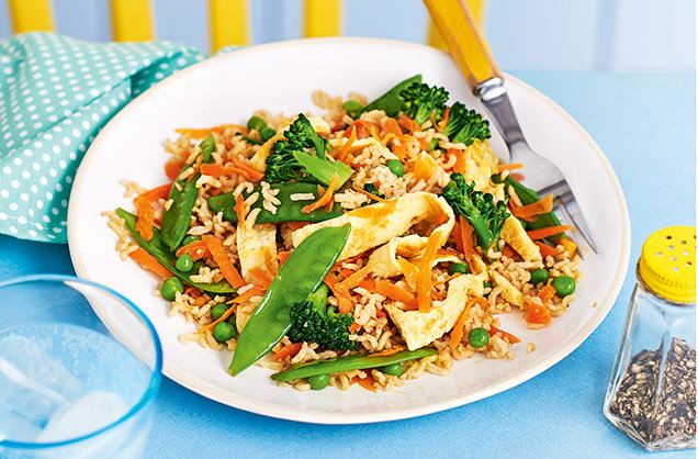 Wednesday: Vegetable fried rice with egg ribbons