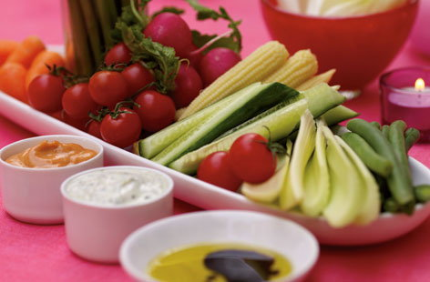 Vegetable plate with three delicious dip HERO