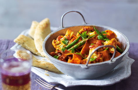Spiced vegetable balti with garlic naan