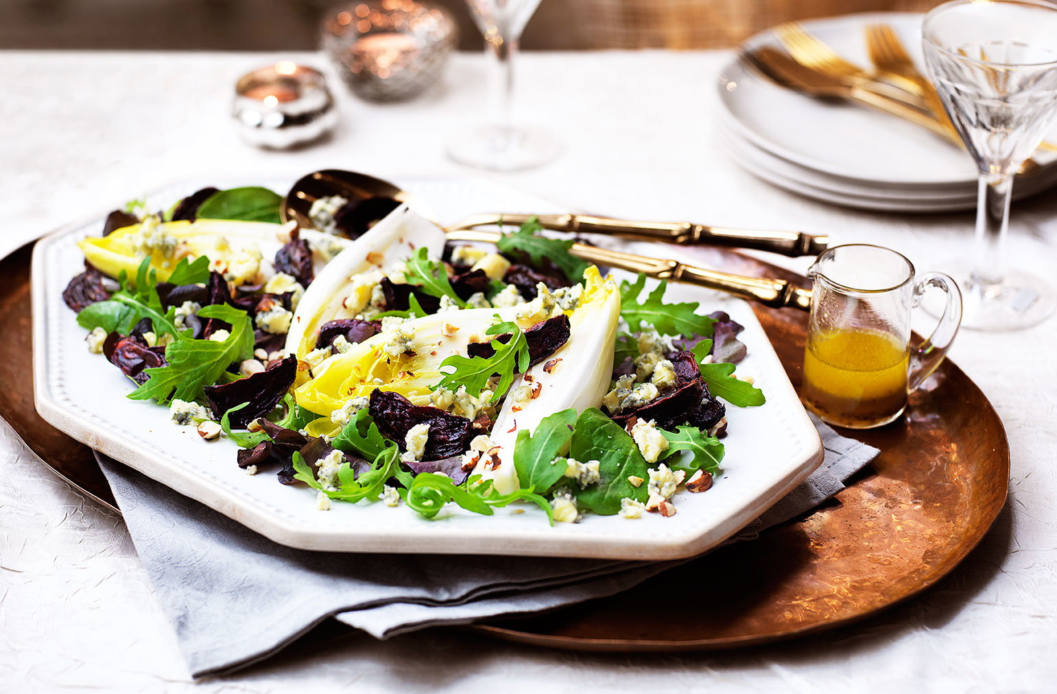 Roasted beetroot and stilton salad with honey cider dressing recipe