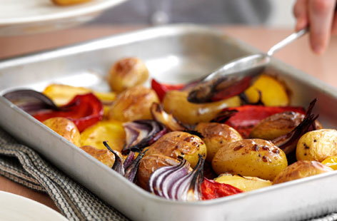 Warm jersey potato and pepper salad hero