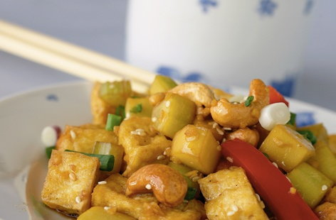 Warm tofu salad with sesame dressing