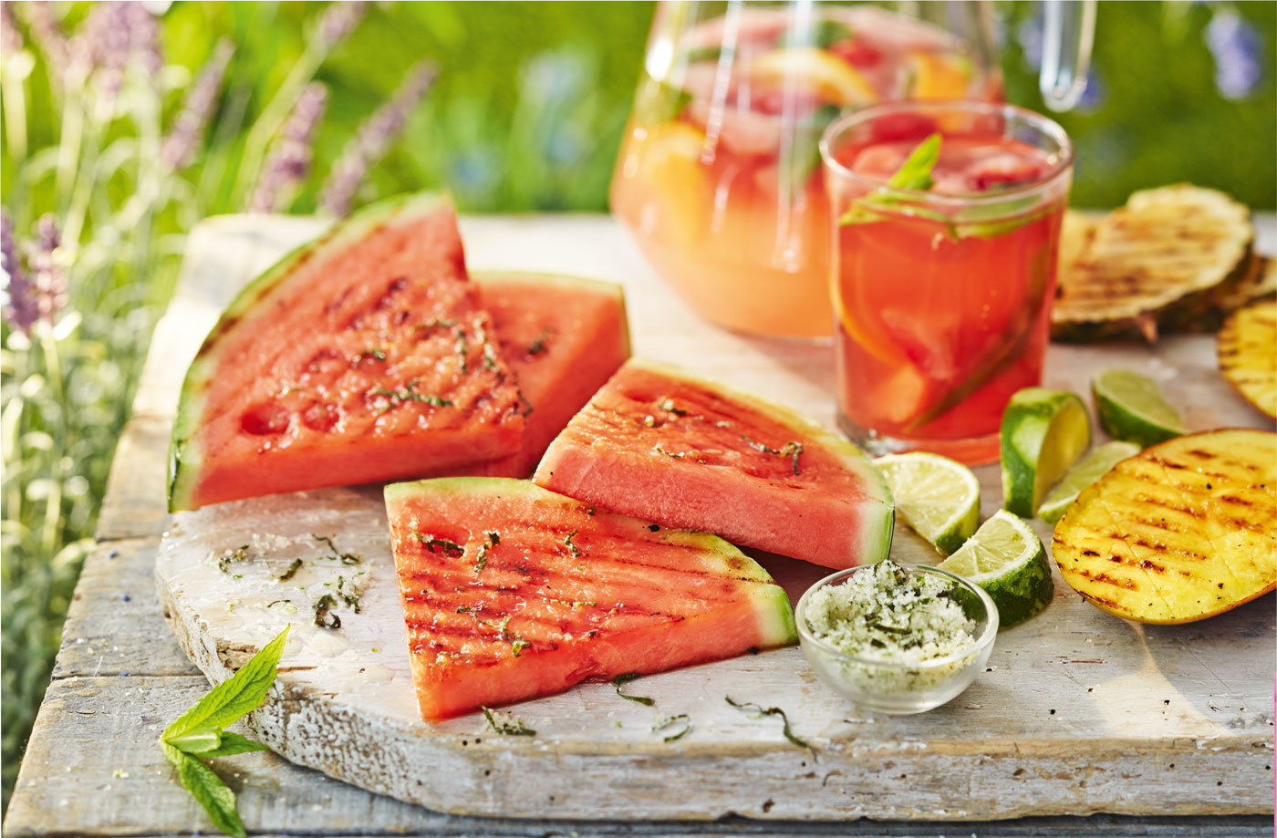 Griddled watermelon with lime and mint sugar
