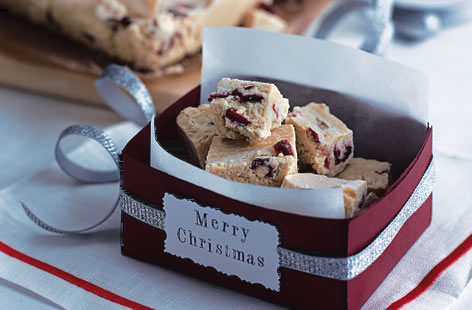 White chocolate and cranberry fudge recipe
