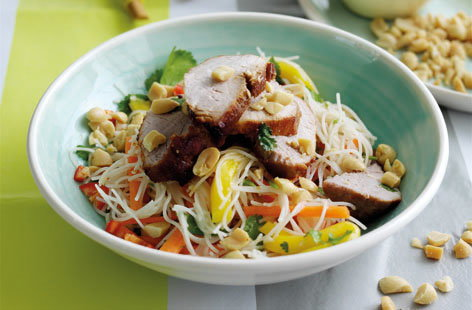 Thai pork, mango and noodle salad recipe