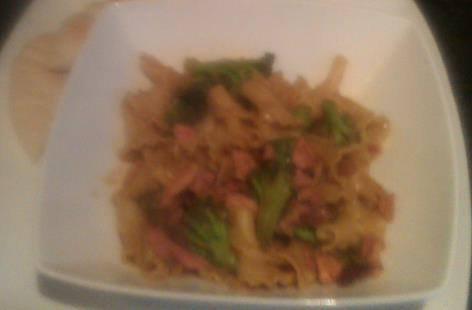 Bacon and Broccoli Pasta in hoisin sauce