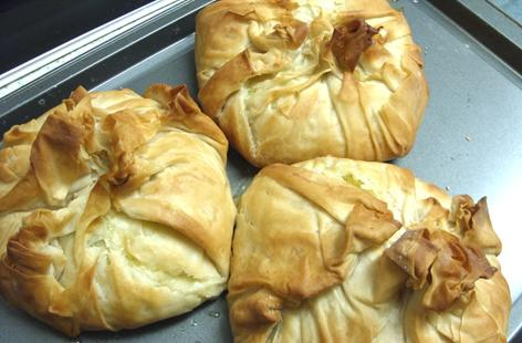 Chicken, Banana and mint Maryland Chicken Filo Parcels