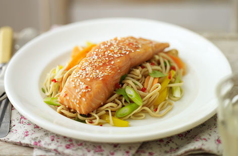 asian salmon with stir fry THUMB