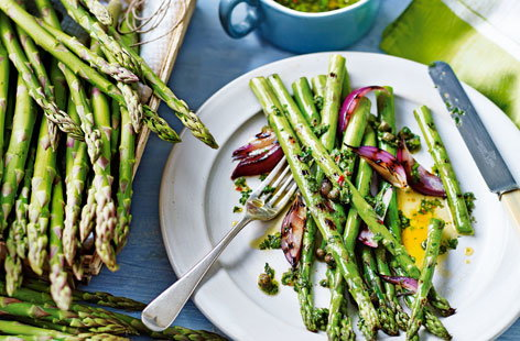 Make the most of this season's asparagus with this summer side dish topped with flavoursome salsa verde.