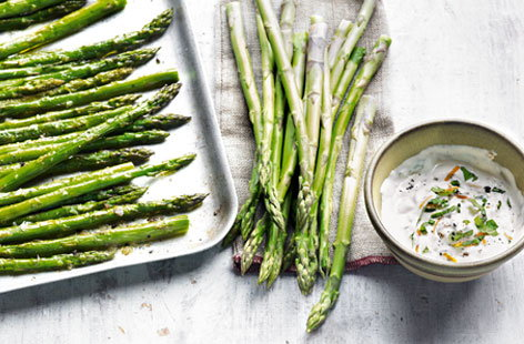 asparagus with orange and basil dip HERO