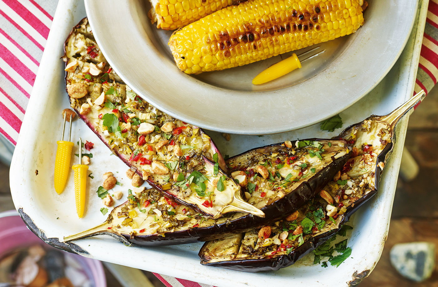 Lime and chilli aubergines with peanuts recipe