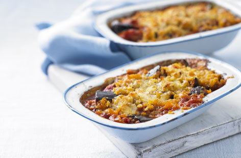 Onion, aubergine and tomato bake recipe