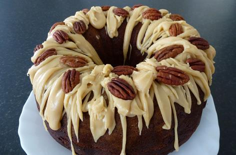 Apple and Pecan bundt cake with butterscotch icing