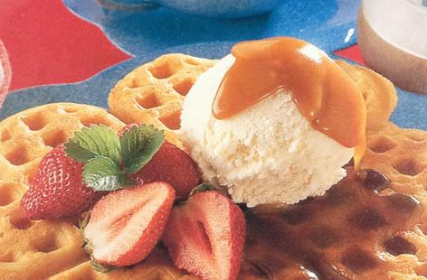 Waffles with Caramel Sauce