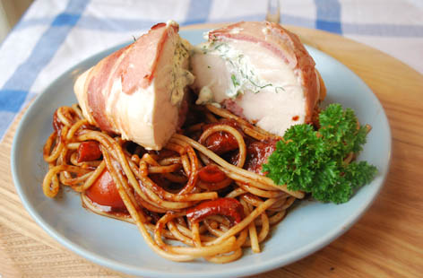 bacon wrapped chicken w balsamic and tomato spag