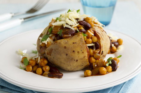 baked potato mexican beans her