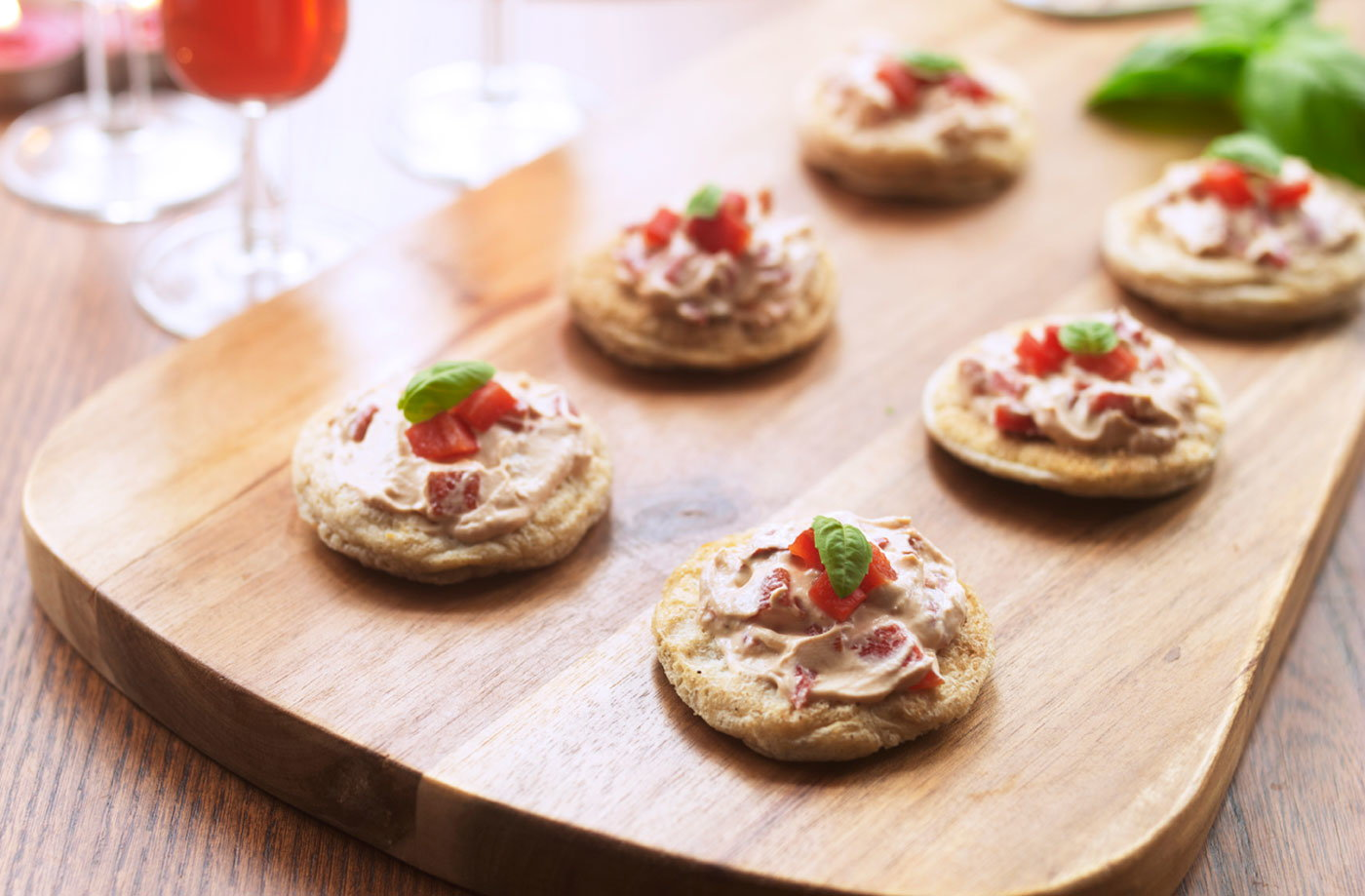 Dairy free blinis with cheesy red pepper spread tesco for Gluten free canape ideas