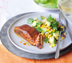 Blackened salmon fillets with avocado