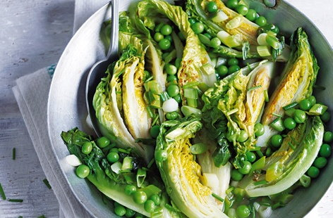 braised lettuce and peas (h)