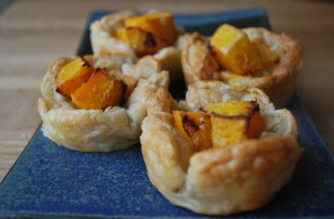 buternut squash and cheese tarts