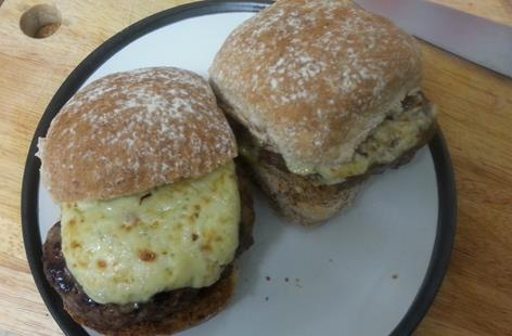 Steak Burgers with Blue Cheese, Caramelised Onion and Bacon topping