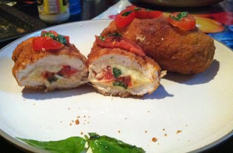 Mozzarella, Tomato and Basil-Stuffed Chicken-Breast Pockets