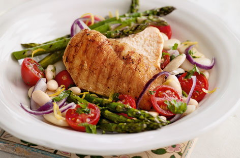 Griddled chicken and asparagus with white bean salad