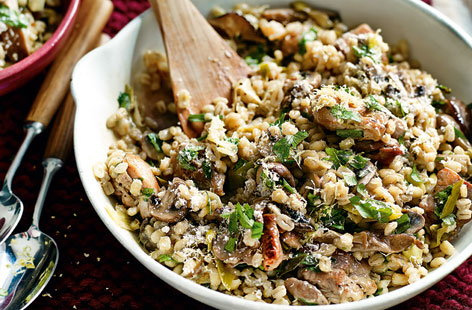 Chicken and mushroom pearl barley risotto