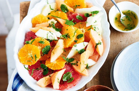 Grapefruit, melon and citrus salad