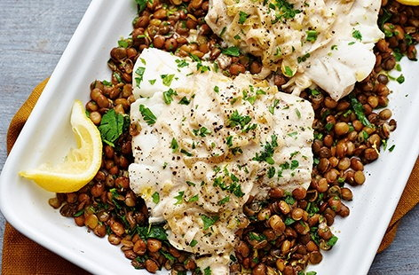 Cider-braised cod with lentils