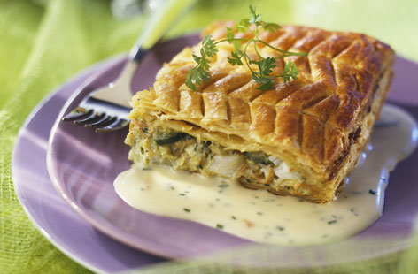 Cod and vegetable flaky pastry pie with chive sauce recipe