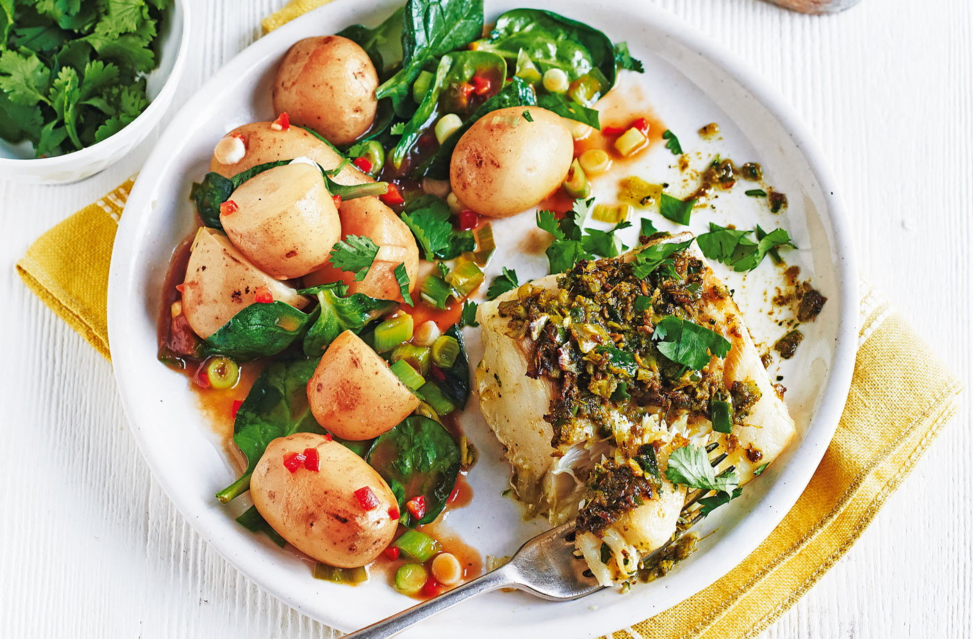 Spiced fish with tamarind potatoes