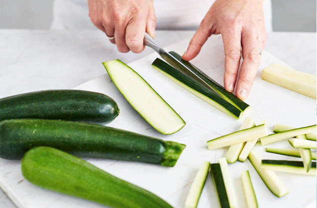 Prep the courgettes