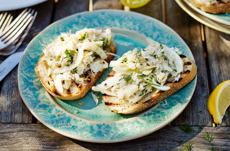 Crab and fennel bruschetta
