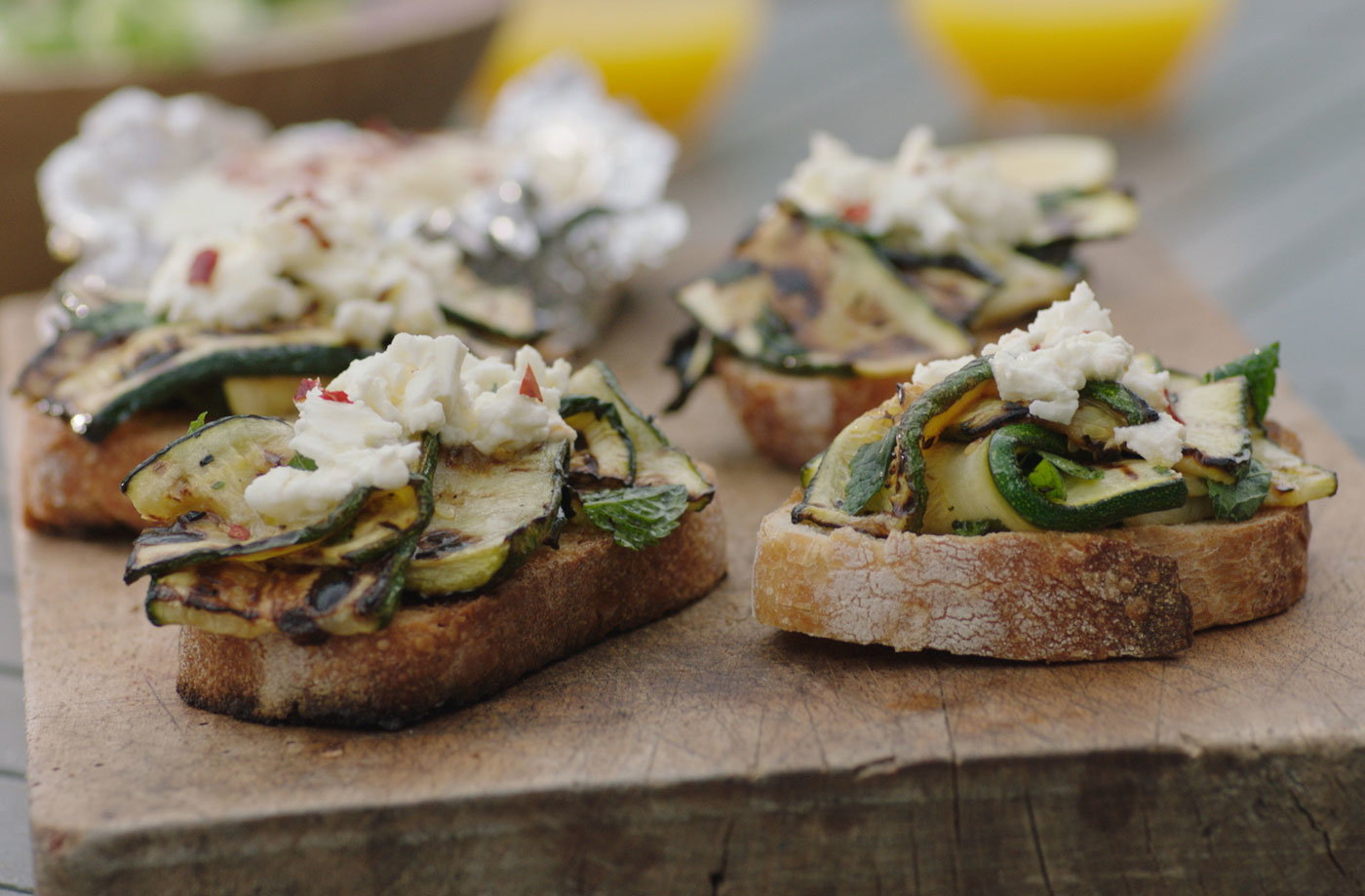Courgette and feta bruschetta