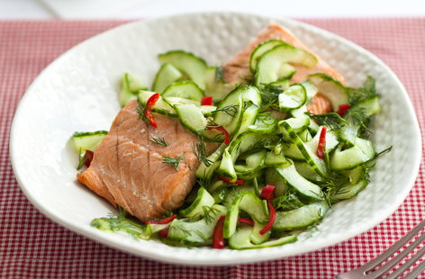 This cooling yet fiery cucumber salad is the perfect accompaniment to cold meat or fish. The cucumber is thinly sliced, then lightly pickled with salt, sugar and vinegar and tossed with dill and fresh chilli.