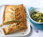 Salmon en croute with watercress