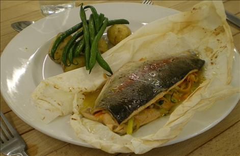 Trout papillote with Jersey Royal potato