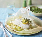 Steamed cod parcels with fennel and herbs