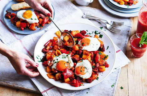 Sunshine eggs with chorizo and potato hash