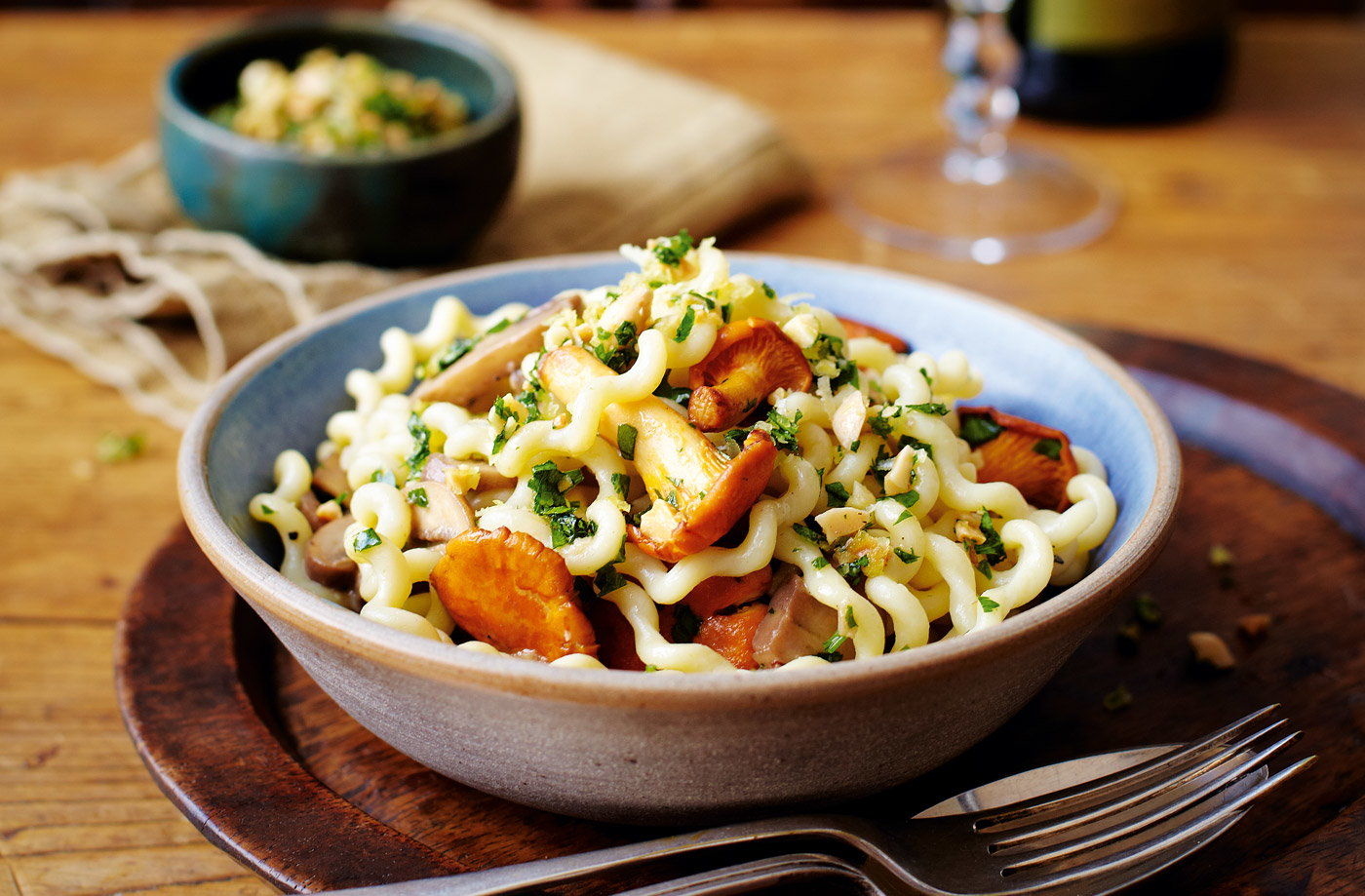 Tesco Finest fusilli with wild mushrooms and almond gremolata