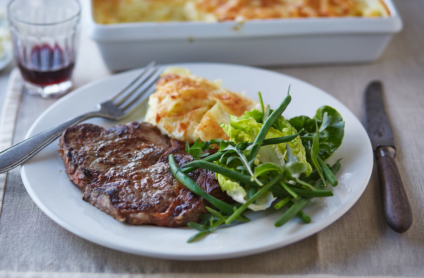 Garlic steak with dauphinoise potatoes  recipe