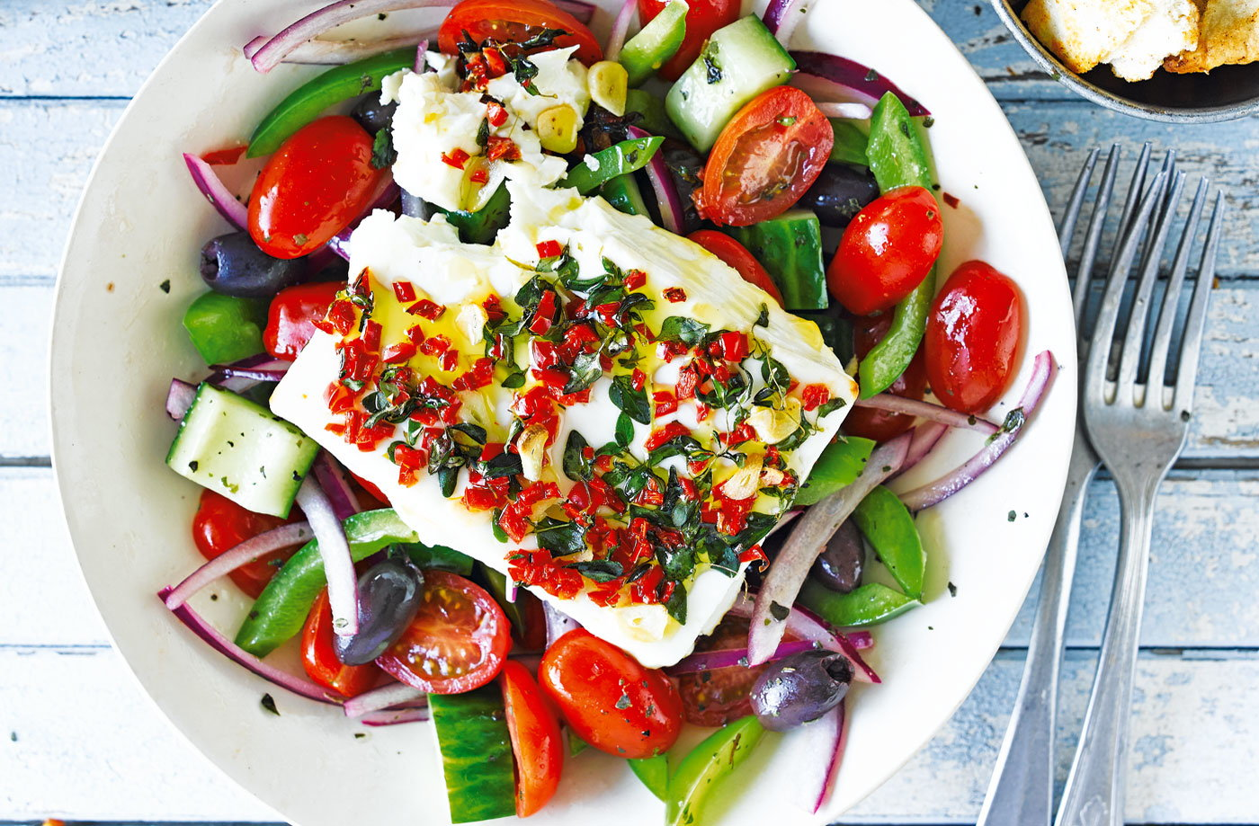 Baked feta with Greek salad and pitta chips recipe