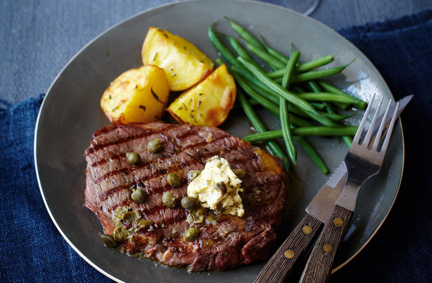 finest* griddled steak with caper butter, green beans and crisp Elfe ...