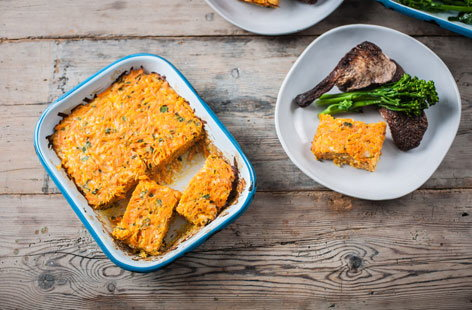(h)Cheesy carrot bake GBC TESCO