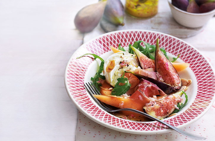 Marinated figs with mozzarella, jamón and melon recipe
