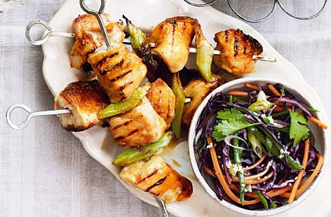 Honey-glazed chicken skewers with Asian slaw recipe