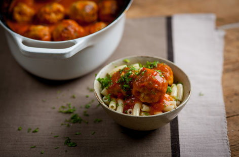 Andy Waters' turkey meatballs with pepper sauce